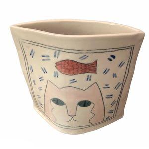 VTG Cat Envelope Vase Pastel 1980s/1990s